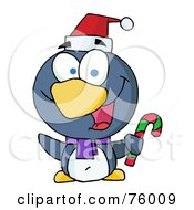 Happy Christmas Penguin Holding A Candy Cane