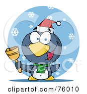 Royalty Free RF Clipart Illustration Of A Charitable Christmas Penguin Bell Ringer In The Snow