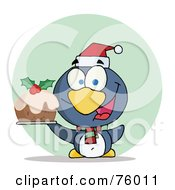Royalty Free RF Clipart Illustration Of A Joyous Christmas Penguin Holding Christmas Pudding by Hit Toon