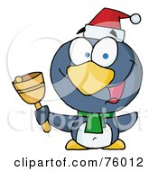 Royalty Free RF Clipart Illustration Of A Thoughtful Christmas Penguin Bell Ringer