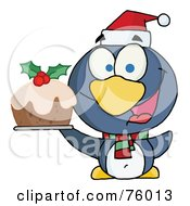 Royalty Free RF Clipart Illustration Of A Happy Christmas Penguin Holding Christmas Pudding by Hit Toon