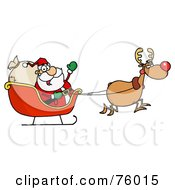 Royalty-Free (RF) Clipart Illustration of a Tired Rudolph Flying Kris Kringle In His Sleigh by Hit Toon