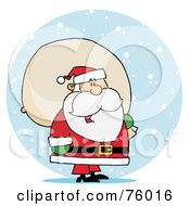 Royalty Free RF Clipart Illustration Of A Jolly Kris Kringle Carrying A Toy Sack In The Snow