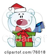 Royalty Free RF Clipart Illustration Of A Giving Christmas Polar Bear Holding A Gift by Hit Toon