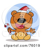 Royalty Free RF Clipart Illustration Of A Joyous Christmas Teddy Bear Holding A Candy Cane by Hit Toon