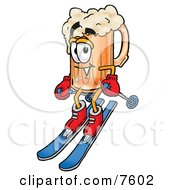 Clipart Picture Of A Beer Mug Mascot Cartoon Character Skiing Downhill