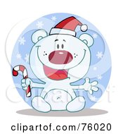 Royalty Free RF Clipart Illustration Of A Joyous Christmas Polar Bear Holding A Candy Cane In The Snow by Hit Toon