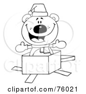 Royalty Free RF Clipart Illustration Of A Black And White Outline Of A Christmas Polar Bear Popping Out Of A Gift Box by Hit Toon