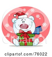 Royalty Free RF Clipart Illustration Of A Giving Christmas Polar Bear Holding A Gift In The Snow by Hit Toon