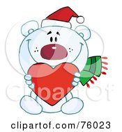 Royalty Free RF Clipart Illustration Of A Sweet Christmas Polar Bear Holding A Heart by Hit Toon