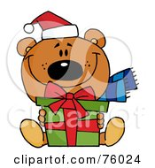 Royalty Free RF Clipart Illustration Of A Giving Christmas Bear Holding A Present by Hit Toon