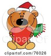 Royalty Free RF Clipart Illustration Of A Sweet Christmas Teddy Bear Holding A Red Heart And Wearing A Santa Hat by Hit Toon