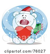Royalty Free RF Clipart Illustration Of A Caring Christmas Polar Bear Holding A Heart In The Snow