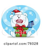 Royalty Free RF Clipart Illustration Of A Thoughtful Christmas Polar Bear Holding A Gift In The Snow