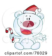 Happy Christmas Polar Bear Holding A Candy Cane