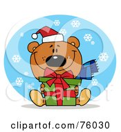 Royalty Free RF Clipart Illustration Of A Thoughtful Christmas Bear Holding A Present In The Snow