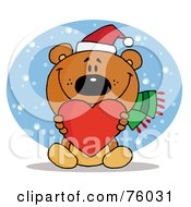 Royalty Free RF Clipart Illustration Of A Tender Christmas Bear Holding A Red Heart And Wearing A Santa Hat In The Snow