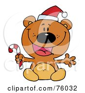 Royalty Free RF Clipart Illustration Of A Happy Christmas Teddy Bear Holding A Candy Cane