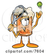Clipart Picture Of A Beer Mug Mascot Cartoon Character Preparing To Hit A Tennis Ball