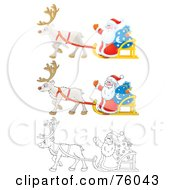 Royalty Free RF Clipart Illustration Of A Digital Collage Of Three Versions Of Santa Waving And Riding On His Sleigh Cartoon Airbrushed And Outline