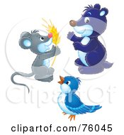 Royalty Free RF Clipart Illustration Of A Digital Collage Of A Mouse Holding Wheat A Blue Gopher And A Blue Bird