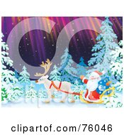 Royalty Free RF Clipart Illustration Of Santa Riding In A Single Caribou Sleigh Through A Winter Forest Under The Northern Lights by Alex Bannykh