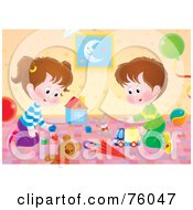 Royalty Free RF Clipart Illustration Of A Brother And Sister Playing With Toys In Their Play Room