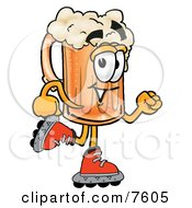 Clipart Picture Of A Beer Mug Mascot Cartoon Character Roller Blading On Inline Skates