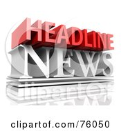 Royalty Free RF Clipart Illustration Of A 3d Typographic Design Of Red And White Words HEADLINE NEWS