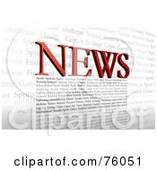 Royalty Free RF Clipart Illustration Of Red NEWS Letters And Other Text Forming A Typographic Design Over White by Tonis Pan
