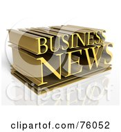 Royalty Free RF Clipart Illustration Of A 3d Typographic Design Of Golden Words BUSINESS NEWS