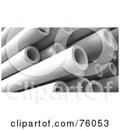 Royalty Free RF Clipart Illustration Of A Background Of 3d Plastic Pipes In A Pile