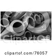 Royalty Free RF Clipart Illustration Of A Background Of 3d Steel Pipes In A Pile