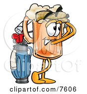Clipart Picture Of A Beer Mug Mascot Cartoon Character Swinging His Golf Club While Golfing