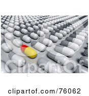 Royalty Free RF Clipart Illustration Of A 3d Red And Yellow Pill Mixed In With Rows Of White And Gray Pills by Tonis Pan