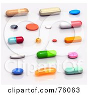 Royalty Free RF Clipart Illustration Of 3d Colorful Pills And Capsules Resting On A Reflective Surface by Tonis Pan