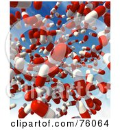 Royalty Free RF Clipart Illustration Of A Background Of Red And White 3d Pills Falling From The Sky by Tonis Pan