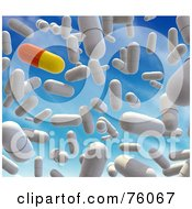 Royalty Free RF Clipart Illustration Of A Background Of A 3d Red And Yellow Pill With White Capsules Falling From The Sky by Tonis Pan