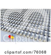 Royalty Free RF Clipart Illustration Of A 3d Red And Yellow Pill Resting In Front Of Rows Of White And Gray Pills by Tonis Pan
