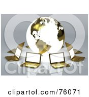 Royalty Free RF Clipart Illustration Of A Network Of Golden Laptops Circling A Globe With The American Continents