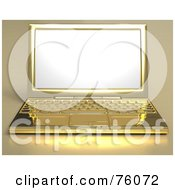 Rendered 3d Golden Laptop Computer With A Blank White Screen