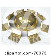 Royalty Free RF Clipart Illustration Of A Network Of Golden Laptops Circling A Gold Sphere by Tonis Pan