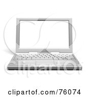 Royalty Free RF Clipart Illustration Of A Rendered 3d Chrome Laptop Computer With A Blank White Screen
