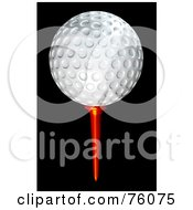 3d White Golf Ball On A Red Tee Over Black