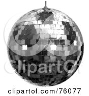 Royalty Free RF Clipart Illustration Of A 3d Rendered Platinum Disco Ball Over White by Tonis Pan