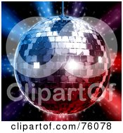 Royalty Free RF Clipart Illustration Of A 3d Rendered Silver Disco Ball Over Red And Blue Lights On Black by Tonis Pan