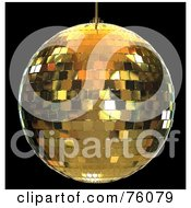Royalty Free RF Clipart Illustration Of A 3d Rendered Gold Disco Ball Over Black by Tonis Pan