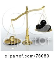 Royalty Free RF Clipart Illustration Of A Golden 3d Scales Leaning Towards A Single Golden Sphere Rather Than 4 Black Spheres Metaphor For Exceptional Individual