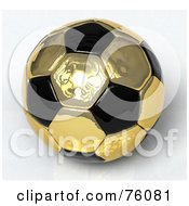 3d Golden Reflective And Black Soccer Ball