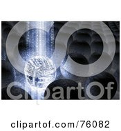 Royalty Free RF Clipart Illustration Of A 3d Background Of A Beam Of Blue Binary Data Streaming Down Onto A Circuit Orb